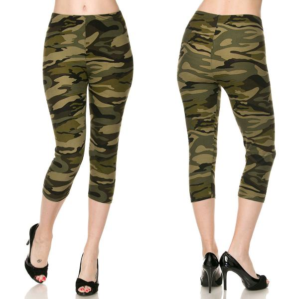 Brushed Fiber Leggings-Capri Length Prints SOL0CP F120 Camouflage MB - Plus Size (XL-2X)