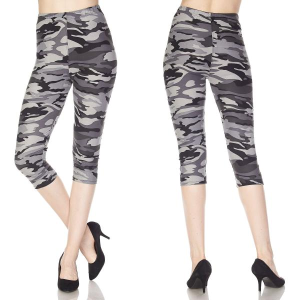 Brushed Fiber Leggings-Capri Length Prints SOL0CP F120 Camouflage Black-Grey MB - Plus Size (XL-2X)