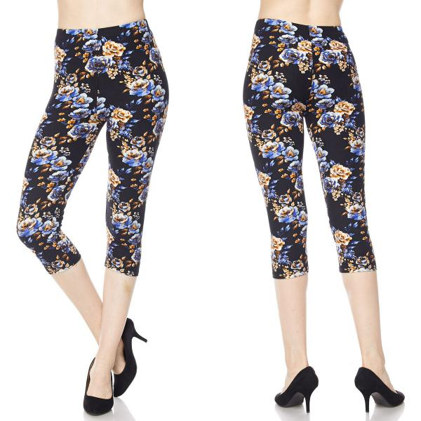 Brushed Fiber Leggings-Capri Length Prints SOL0CP F547 Floral Print MB - One Size Fits All