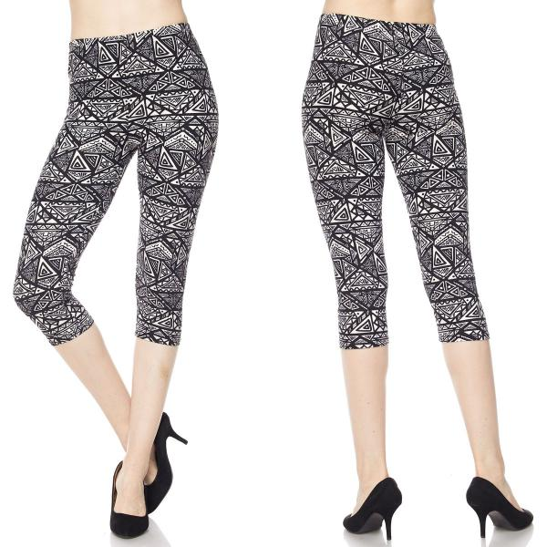 Brushed Fiber Leggings-Capri Length Prints SOL0CP F558 Geometric Pattern MB - Plus Size (XL-2X)