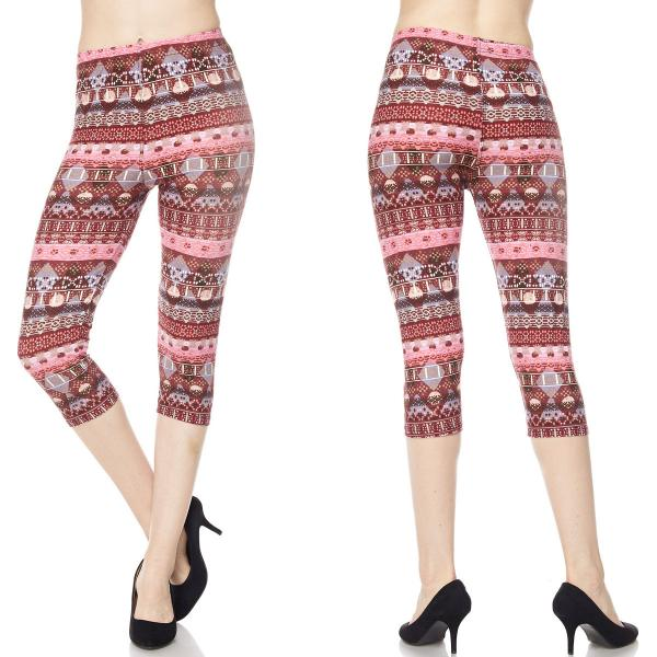 Brushed Fiber Leggings-Capri Length Prints SOL0CP F549 Multi Pattern Brushed Fiber Leggings - Capri Length Print - Plus Size (XL-2X)