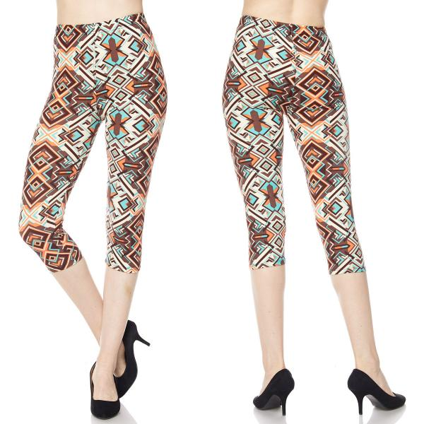Brushed Fiber Leggings-Capri Length Prints SOL0CP F557 Pattern Print Brushed Fiber Leggings - Capri Length Print - Plus Size (XL-2X)