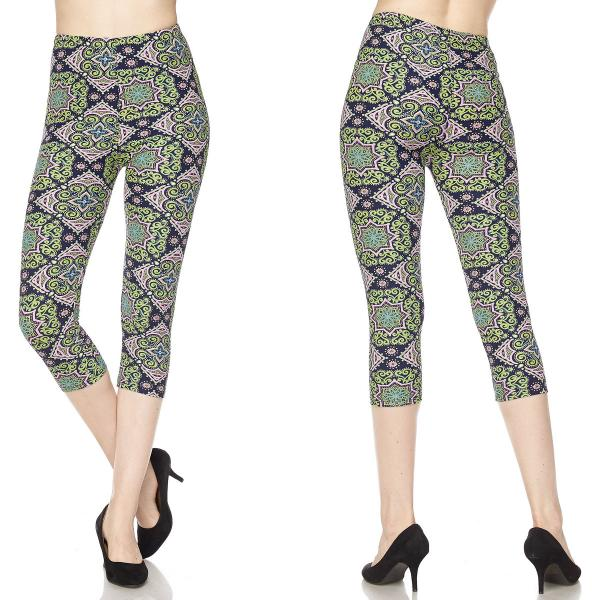 Brushed Fiber Leggings-Capri Length Prints SOL0CP N196 Paisley Print (MB) - One Size Fits All