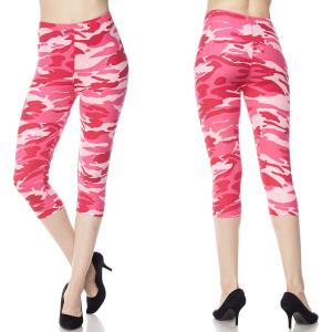 Brushed Fiber Leggings - Capri Length Prints F120 Camouflage Pink - One Size Fits All