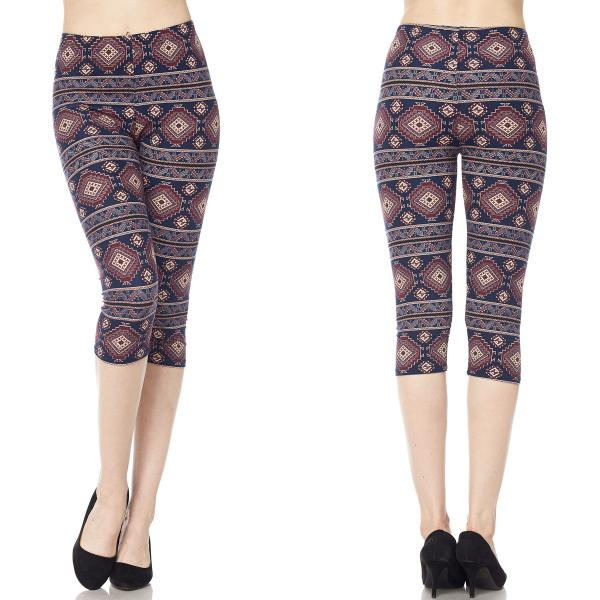 Wholesale Brushed Fiber Leggings-Capri Length Prints SOL0C  J041 Aztec Tribal - One Size Fits (S-L)