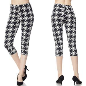 Brushed Fiber Leggings - Capri Length Prints F638 Houndstooth Print - One Size Fits All
