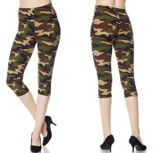 Brushed Fiber Leggings - Capri Length Prints F637 Camouflage Army - One Size Fits All