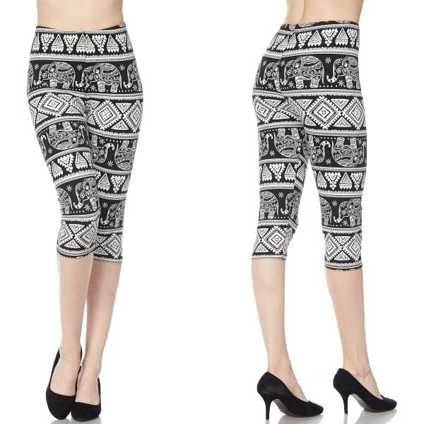 Brushed Fiber Leggings-Capri Length Prints SOL0CP J027 Elephant Aztec MB - Plus Size (XL-2X)