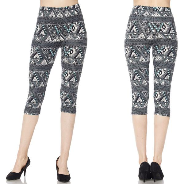 Brushed Fiber Leggings-Capri Length Prints SOL0CP J038 Multi Aztec Tribal MB - Plus Size (XL-2X)