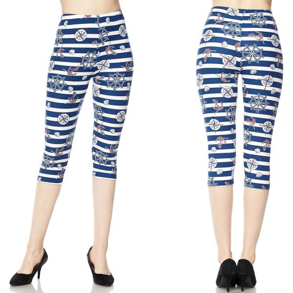 Brushed Fiber Leggings-Capri Length Prints SOL0CP F662 Nautical Print - Plus Size (XL-2X)
