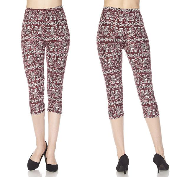 Brushed Fiber Leggings-Capri Length Prints SOL0CP F305 Elephant Print - Burgundy Brushed Fiber Leggings - Capri Length Print - Plus Size (XL-2X)