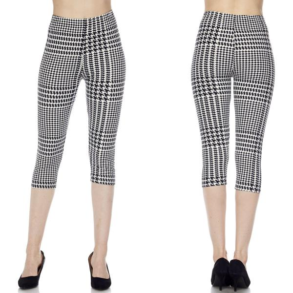 Brushed Fiber Leggings-Capri Length Prints SOL0CP J083 Houndstooth Stripe Brushed Fiber Leggings - Capri Length Print - One Size Fits All