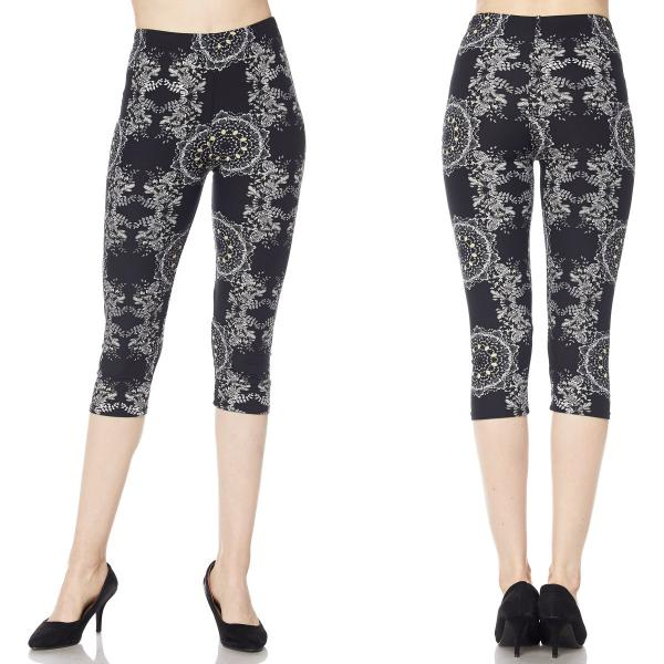 Brushed Fiber Leggings-Capri Length Prints SOL0CP J040 Symmetry Pattern Brushed Fiber Leggings - Capri Length Print - One Size Fits All