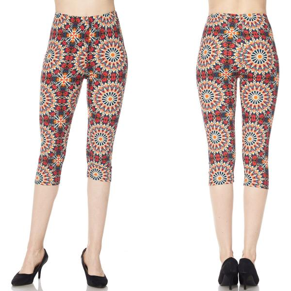 Brushed Fiber Leggings-Capri Length Prints SOL0CP J047 Symmetry Circus Brushed Fiber Leggings - Capri Length Print - Plus Size (XL-2X)