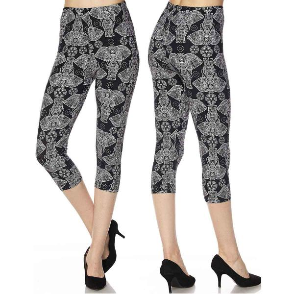 Brushed Fiber Leggings-Capri Length Prints SOL0CP N181 Elephant Print Brushed Fiber Leggings - Capri Length Print - Plus Size (XL-2X)