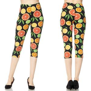Brushed Fiber Leggings-Capri Length Prints SOL0C  J079 Fruit Print Brushed Fiber Leggings - Capri Length Print MB - Plus Size (XL-2X)