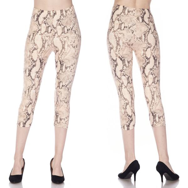 Brushed Fiber Leggings-Capri Length Prints SOL0CP J280 Snake Skin Print Brushed Fiber Leggings - Capri Length Print - Plus Size (XL-2X)