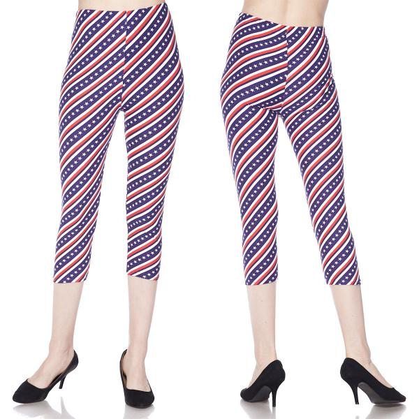 Brushed Fiber Leggings-Capri Length Prints SOL0CP J298 Stars and Stripes Brushed Fiber Leggings - Capri Length Print - One Size Fits All
