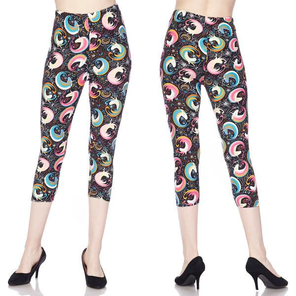 Brushed Fiber Leggings-Capri Length Prints SOL0CP J292 Unicorn Swirls Brushed Fiber Leggings - Capri Length Print - Plus Size (XL-2X)