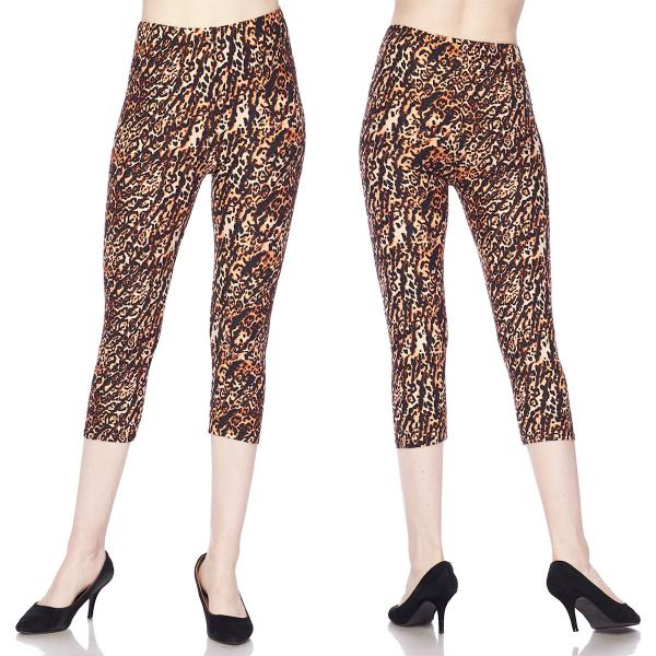 Brushed Fiber Leggings-Capri Length Prints SOL0CP L008 Animal Print - Plus Size (XL-2X)