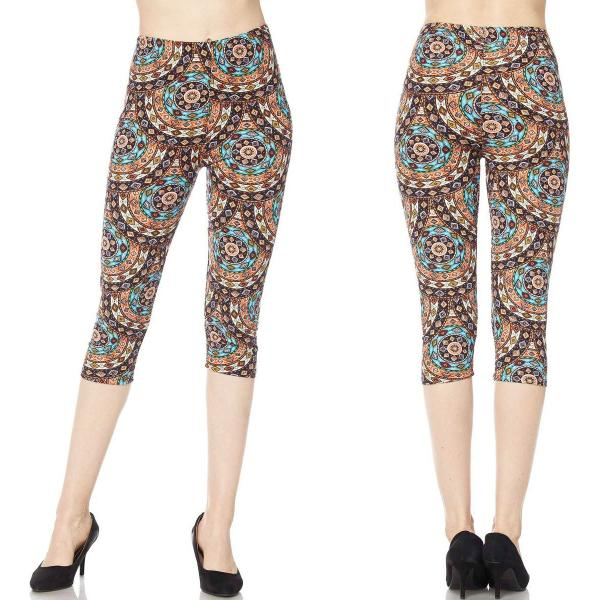 Brushed Fiber Leggings-Capri Length Prints SOL0CP J043 Whirley Scales Brushed Fiber Leggings - Capri Length Print - Plus Size (XL-2X)