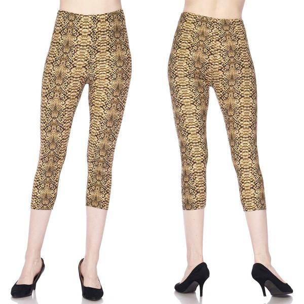 Brushed Fiber Leggings-Capri Length Prints SOL0CP L003 Snake Skin Brushed Fiber Leggings - Capri Length Print - One Size Fits All