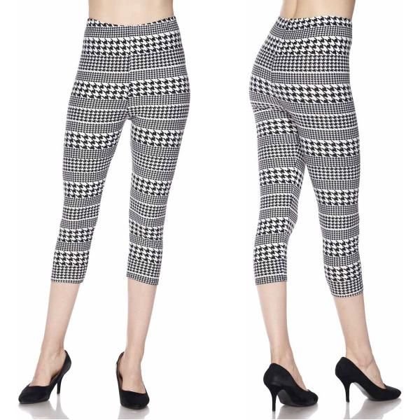 Brushed Fiber Leggings-Capri Length Prints SOL0CP J254 Houndstooth Stripe - Plus Size (XL-2X)