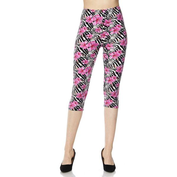 Wholesale Brushed Fiber Leggings-Capri Length Prints SOL0C  F671 ROYAL AZALEA Brushed Fiber Leggings-Capri Length Print - One Size Fits (S-L)
