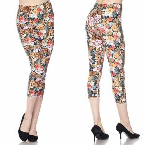 Wholesale  J268 TIGER FLOWER Brushed Fiber Leggings-Capri Length Print - One Size Fits (S-L)