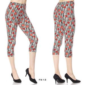 Wholesale  F612 CHERRIES STRIPED Brushed Fiber Leggings - Capri Length Print  - One Size Fits (S-L)