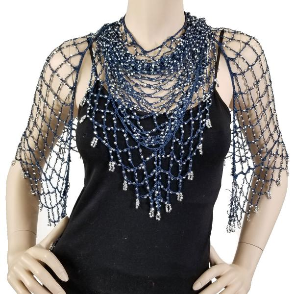 wholesale Shanghai Beaded Triangle Denim w/ Silver Beads -