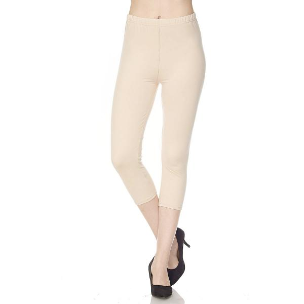 Brushed Fiber Leggings-Capri Length Solids SOL0C Solid Beige Brushed Fiber Leggings - Capri Length  - One Size Fits All