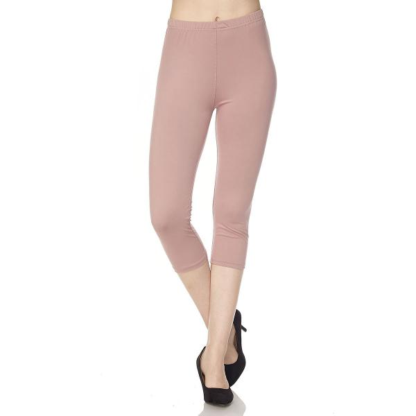 Brushed Fiber Leggings-Capri Length Solids SOL0C Solid Mauve Brushed Fiber Leggings - Capri Length  - One Size Fits All