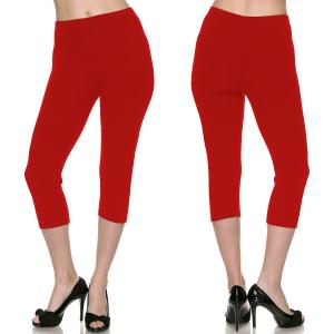 Brushed Fiber Leggings - Capri Length Solids Solid Red - One Size Fits All