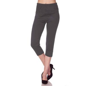 Brushed Fiber Leggings - Capri Length Solids Solid Charcoal  - One Size Fits All