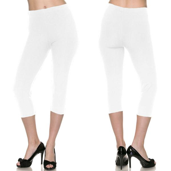 Brushed Fiber Leggings-Capri Length Solids SOL0C Solid White Brushed Fiber Leggings - Capri Length  - One Size Fits All