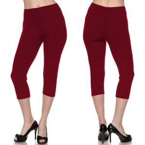 Brushed Fiber Leggings - Capri Length Solids Solid Burgundy - Plus Size (XL-2X)