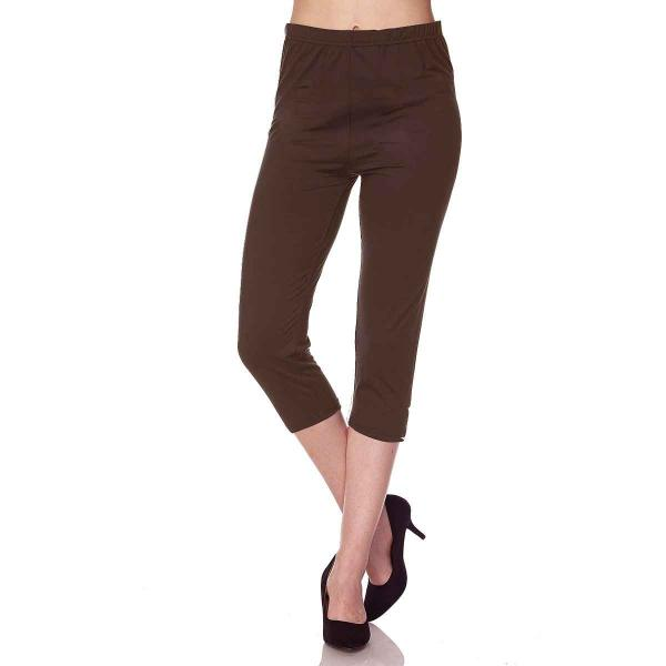 Brushed Fiber Leggings-Capri Length Solids SOL0C Solid Brown Brushed Fiber Leggings - Capri Length  - Plus Size (XL-2X)