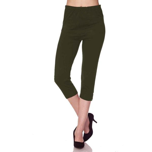 Brushed Fiber Leggings-Capri Length Solids SOL0C Solid Olive Brushed Fiber Leggings - Capri Length  - Plus Size (XL-2X)