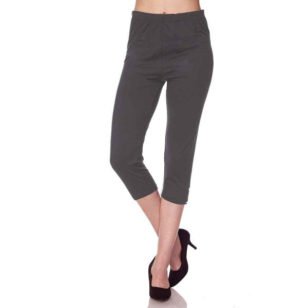 Brushed Fiber Leggings-Capri Length Solids SOL0C Solid Charcoal Brushed Fiber Leggings - Capri Length  - Plus Size (XL-2X)