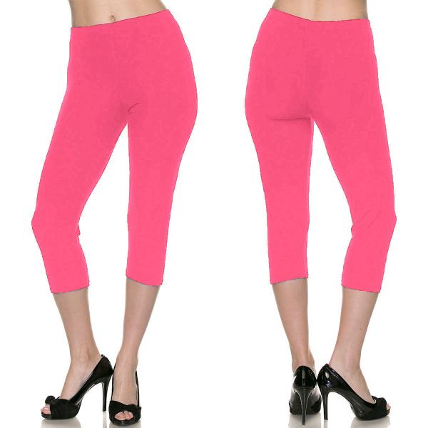 Brushed Fiber Leggings-Capri Length Solids SOL0C Solid Fuchsia Brushed Fiber Leggings - Capri Length  - One Size Fits All
