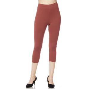 Brushed Fiber Leggings - Capri Length Solids Solid Marsala - Plus Size (XL-2X)