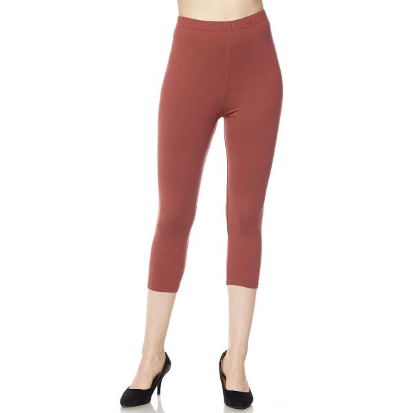 Brushed Fiber Leggings-Capri Length Solids SOL0C Solid Marsala Brushed Fiber Leggings - Capri Length  - Plus Size (XL-2X)