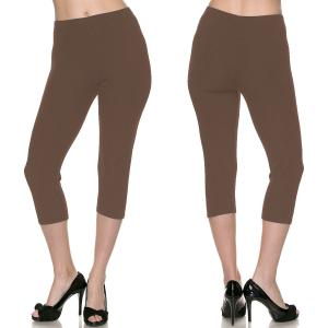 Brushed Fiber Leggings - Capri Length Solids Solid Mocha - Plus Size (XL-2X)