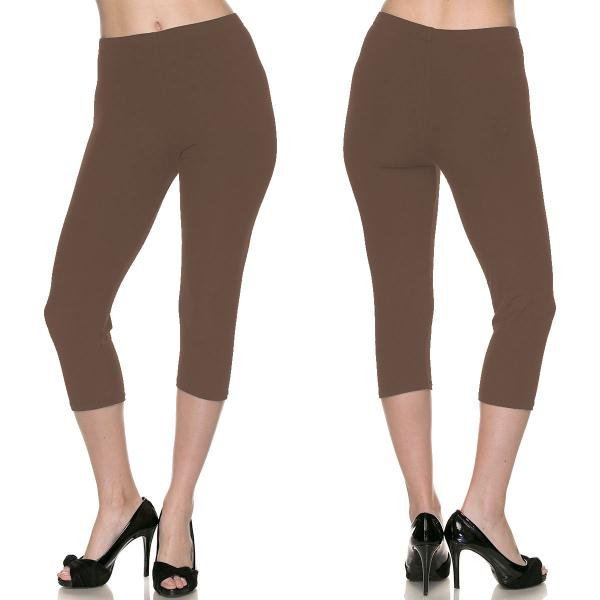 Brushed Fiber Leggings-Capri Length Solids SOL0C Solid Mocha Brushed Fiber Leggings - Capri Length  - Plus Size (XL-2X)