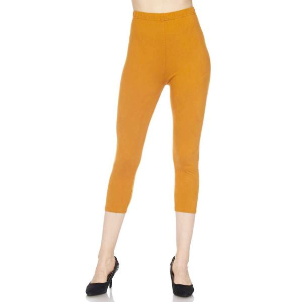 Brushed Fiber Leggings-Capri Length Solids SOL0C Solid Mustard Brushed Fiber Leggings - Capri Length  - Plus Size (XL-2X)