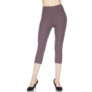 Brushed Fiber Leggings - Capri Length Solids Solid Violet - One Size Fits All