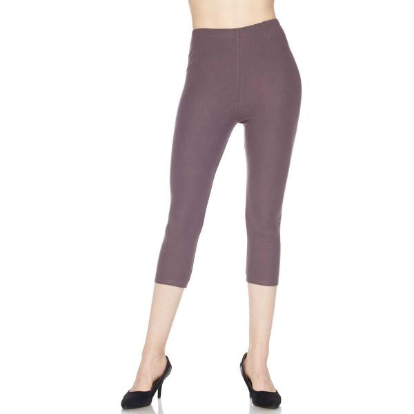 Brushed Fiber Leggings-Capri Length Solids SOL0C Solid Violet Brushed Fiber Leggings - Capri Length  - One Size Fits All