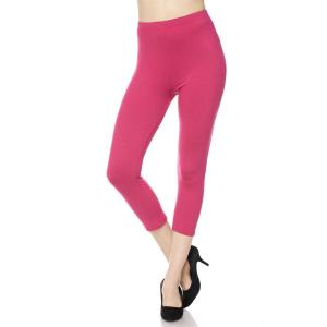 Brushed Fiber Leggings - Capri Length Solids Solid Magenta - One Size Fits All