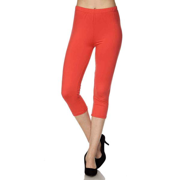 Brushed Fiber Leggings-Capri Length Solids SOL0C Solid Dark Coral Brushed Fiber Leggings - Capri Length  - Plus Size (XL-2X)